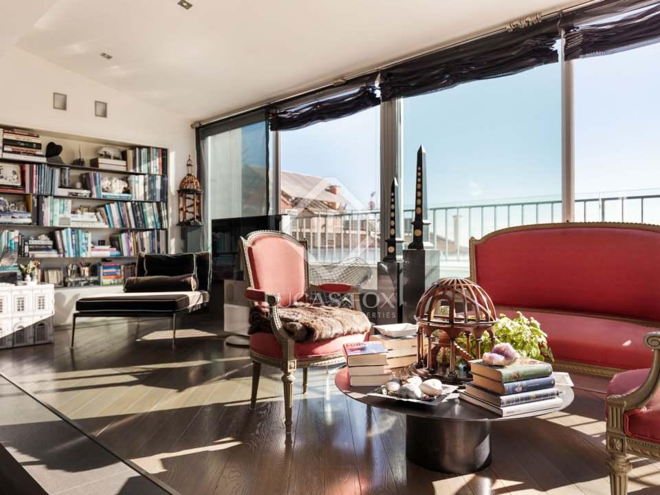 interior ático zona alta con vistas- áticos de lujo en Barcelona